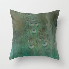 Peafowl In Abstract Throw Pillow