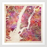 new york map Art Prints featuring New York Map Watercolor by Map Map Maps