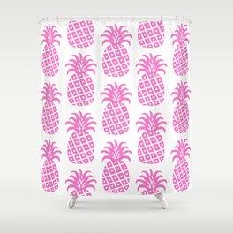Retro Mid Century Modern Pineapple Pattern Pink Shower Curtain