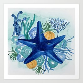 blue sea star with corals watercolor illustration Art Print