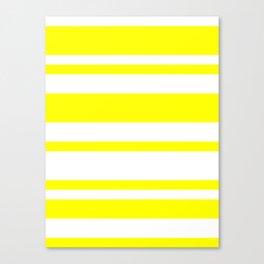 Mixed Horizontal Stripes - White and Yellow Canvas Print