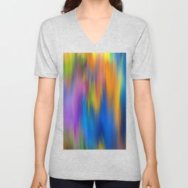 Abstract navy blue orange colorful watercolor brushstrokes Unisex V-Neck