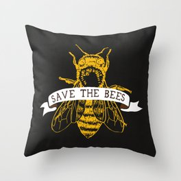 Save The Bees (Dark) Throw Pillow