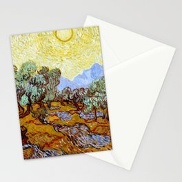 """Vincent Van Gogh """"Olive Trees With Yellow Sky And Sun"""" Stationery Cards"""