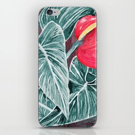 Pop Anthurium Leafs and Flowers iPhone Skin
