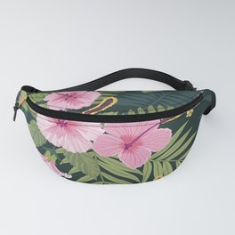 Bold Graphic Floral Tropical Plant Pink Hibiscus Lush Dark Colorful Pink Flowers Pattern Fanny Pack