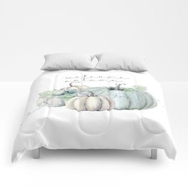 welcome autumn blue pumpkin Comforters