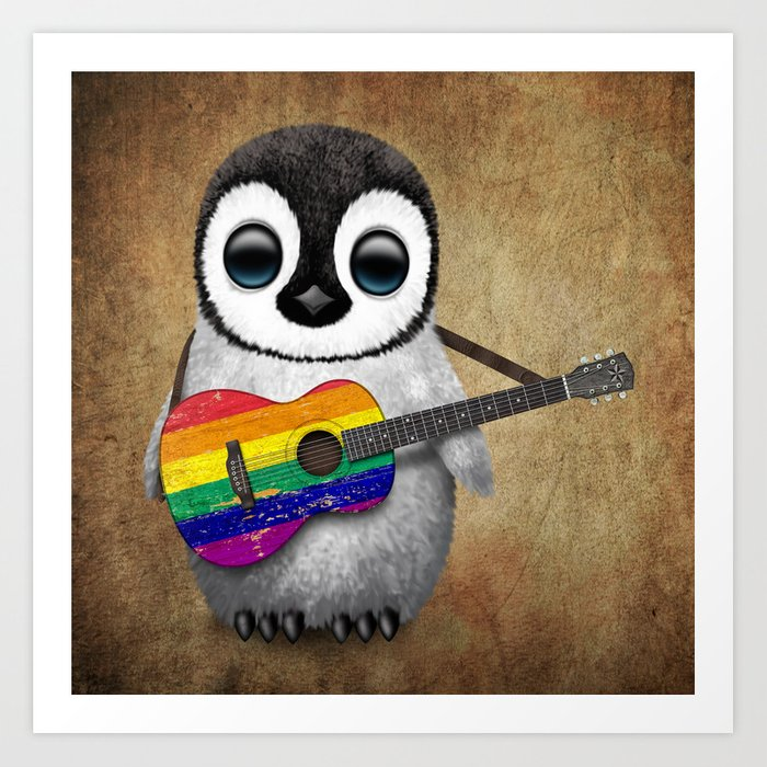 Baby Penguin Playing Gay Pride Rainbow Flag Guitar Art Print