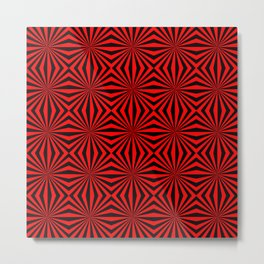 Red Black Dizzy Abstract Pattern Metal Print