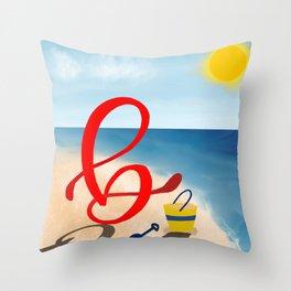 Baby B at the Beach Throw Pillow