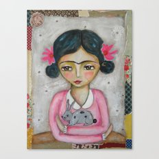 Frida Kahlo and bunny Canvas Print