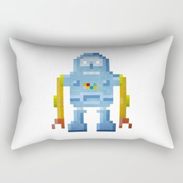 Blue pixel robot #1 Rectangular Pillow