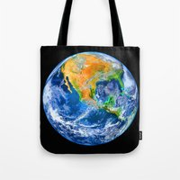 earth Tote Bags featuring Earth by Marble Trouble