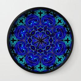 Bright Blue Kaleidoscope Wall Clock