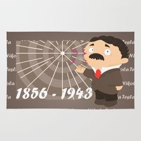 tesla Area & Throw Rugs featuring Nikola Tesla by Alapapaju