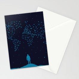 Stars world map - Man Stationery Cards