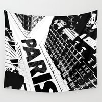 cities Wall Tapestries featuring Cities in Black - Paris by SketchbookJack