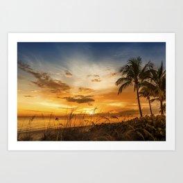 BONITA BEACH Bright Sunset Art Print