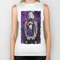 lakers Biker Tanks featuring Marilyn Monroe Los angeles Lakers with tattoos by Three Second