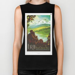 Earth Retro Space Poster Biker Tank