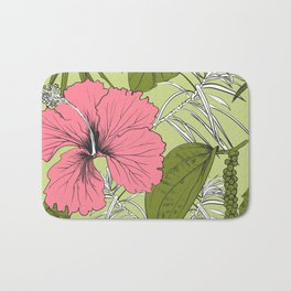Tropical exotic flowers and leaves. Seamless pattern. Bath Mat
