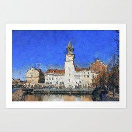 Prague Buildings, van Gogh Style Art Print