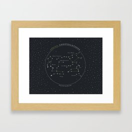 Spring Constellations Astronomy Star Chart Framed Art Print