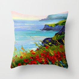 Sea ,rocks,flowers Throw Pillow