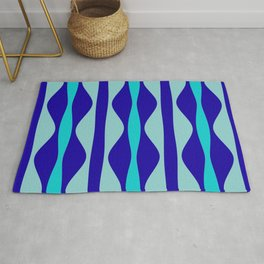 Curvy Blue Stripes Rug