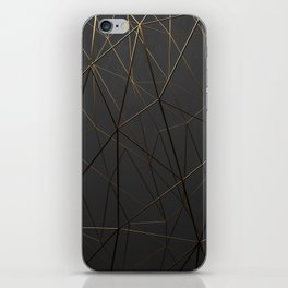 Golden Wireframe Triangles iPhone Skin