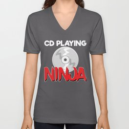 CD Playing Ninja Unisex V-Neck