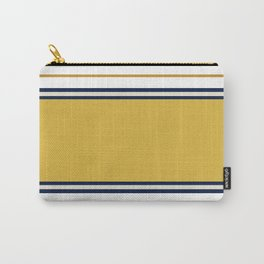 Wide and Thin Stripes Color Block Pattern in Mustard Yellow, Navy Blue, Champagne, and White Carry-All Pouch