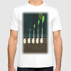 music seeds White MEDIUM Mens Fitted Tee
