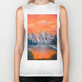 Mountains landscape at sunset Biker Tank