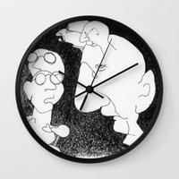 talking heads Wall Clocks featuring Talking Heads by SheilaMary