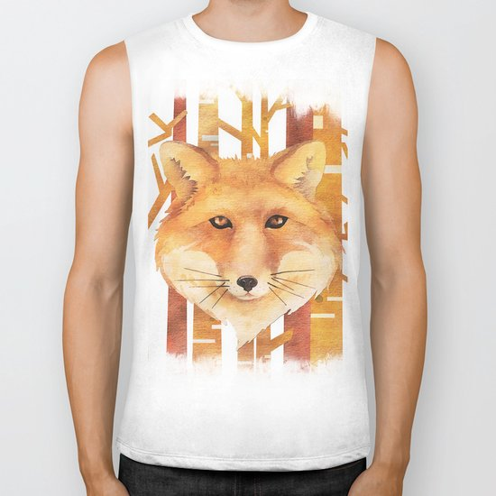 Fox in the forest- Animal abstract watercolor illustration on #Society6 Biker Tank