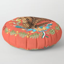 Mexican Flag seal on orange red background Floor Pillow