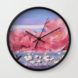 Floral Flamingos Wall Clock