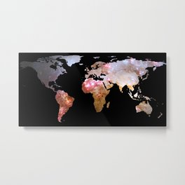 World Map Silhouette - Galaxy Metal Print