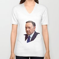 frank underwood V-neck T-shirts featuring Frank Underwood Low Poly by Breno Bitencourt