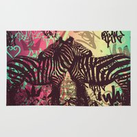 zebra Area & Throw Rugs featuring ZEBRA by Nechifor Ionut