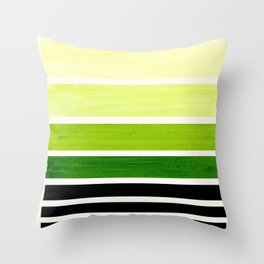 Sap Green Minimalist Mid Century Staggered Stripes Rothko Color Block Geometric Art Throw Pillow