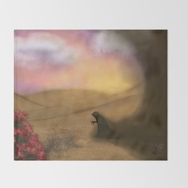 Lonely demon in the desert Throw Blanket