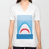 jaws V-neck T-shirts featuring Jaws by Daniel Anastasio