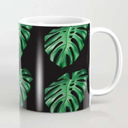Split leaf Philodendron pattern on dark background Coffee Mug