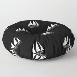 White Sailboat Pattern on black background Floor Pillow