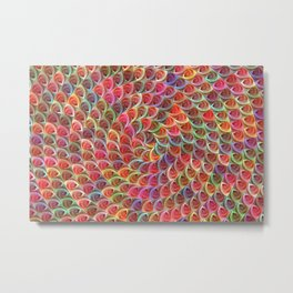 Colorful Flowers Spiral Metal Print