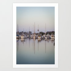 Sail Boats and Reflections in the Harbor Art Print