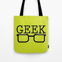 geek Tote Bags featuring Geek by Farah Saheb