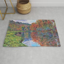 Le bras de Jeufosse, Autumn by Claude Monet Rug